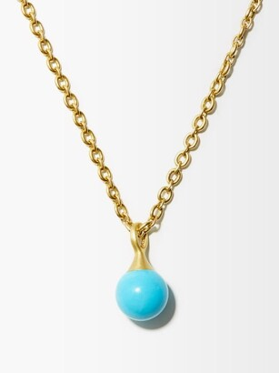 Irene Neuwirth Gumball Turquoise & 18kt Gold Pendant Necklace - Blue Gold