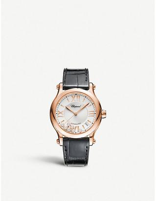 Chopard Happy Sport Medium Automatic 18ct rose-gold diamond and alligator-leather watch