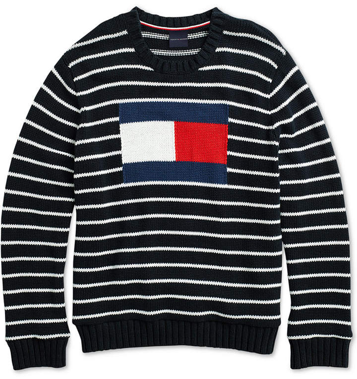 Tommy Hilfiger Adaptive Men Flag Intarsia Sweater with Magnetic Closures