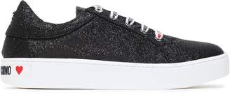 Love Moschino Glittered Logo-print Woven Sneakers