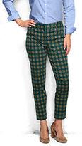 Lands' End Women's Petite Slim Twill Pants-Drake Green Print