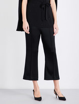 St. John Flared cropped satin trousers