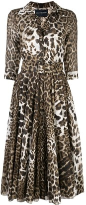 Samantha Sung Leopard-Print Shirt Dress