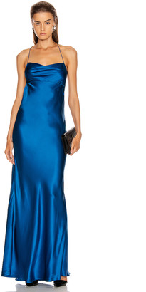 Mason by Michelle Mason Cowl Bias Gown in Marine | FWRD