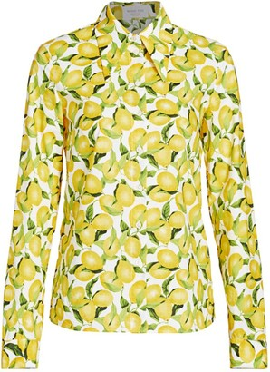 Michael Kors Lemon-Print Cotton Poplin Button-Front Shirt