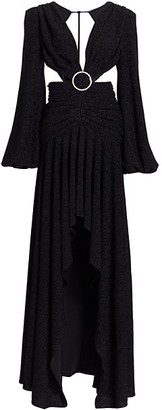 PatBO Lurex Cutout Long-Sleeve Gown