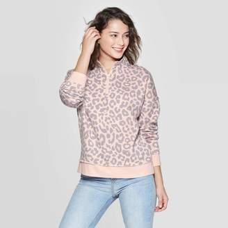 Grayson Threads Women's Leopard Print 1/4 Zip Sweatshirt Juniors') - Pink