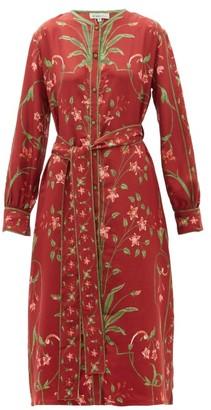 D'Ascoli Belted Floral-print Silk-twill Dress - Red Multi