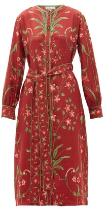 D'Ascoli Belted Floral-print Silk-twill Dress - Womens - Red Multi