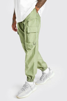 boohoo Mens Green Shell Cargo Trouser With 3D Pockets, Green