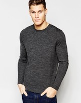 Asos Crew Neck Sweater in Black Twist