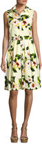 Samantha Sung Audrey Paisley-Print Sleeveless Shirtdress, Yellow