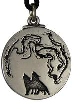 Pepi The Wolf Moon Jewelry Pewter Pendant Tribal Animal Totem Necklace