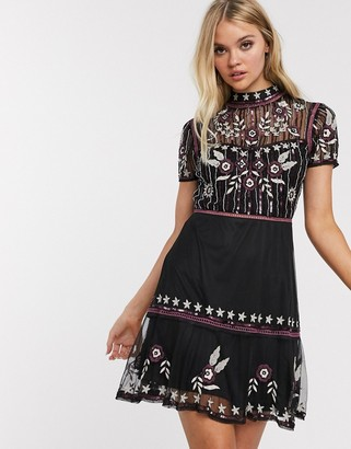 Frock and Frill short sleeve embroidered skater dress