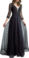 Basix II V-Neck 3/4-Sleeve Lace A-Line Gown