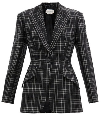 Alexander McQueen Single-breasted Check Wool-twill Jacket - Black White