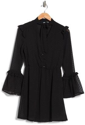 Luna Chix Clipdot Bell Sleeve Mini Dress