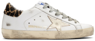Golden Goose SSENSE Exclusive White and Gold Giraffe Superstar Sneakers