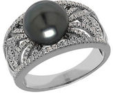 Lord & Taylor Tahitian Pearl, Diamond and 14K White Gold Ring