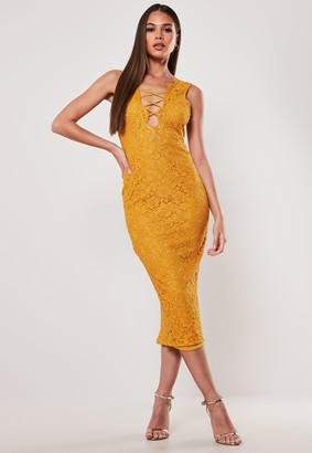 Missguided Mustard Lace Up Front Midi Dress