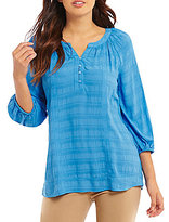 Westbound Petite Shirred Peasant Top