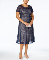 Sangria Plus Size Sequined Lace Fit and Flare Dress