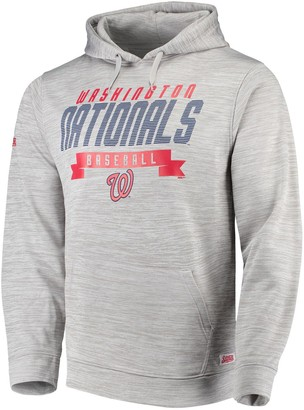 Stitches Men's Heathered Gray Washington Nationals Poly Pullover Hoodie