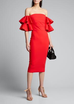 Chiara Boni Parvati Off-the-Shoulder Ruffle-Sleeve Sheath Dress