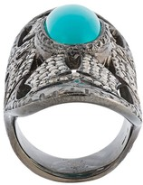 Loree Rodkin turquoise & diamond bondage ring