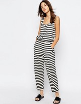 Asos Stripe Jersey Jumpsuit with Popper Front