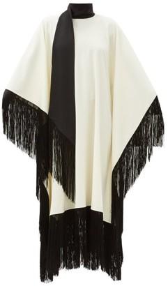 Taller Marmo Mrs. Ross Fringed Wool-blend Crepe Kaftan - Ivory Multi