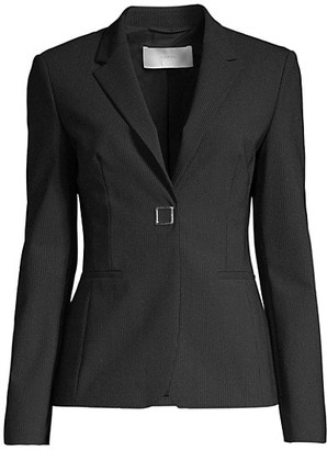 HUGO BOSS Julea4 Stretch Wool-Blend Metal Snap Pinstripe Jacket