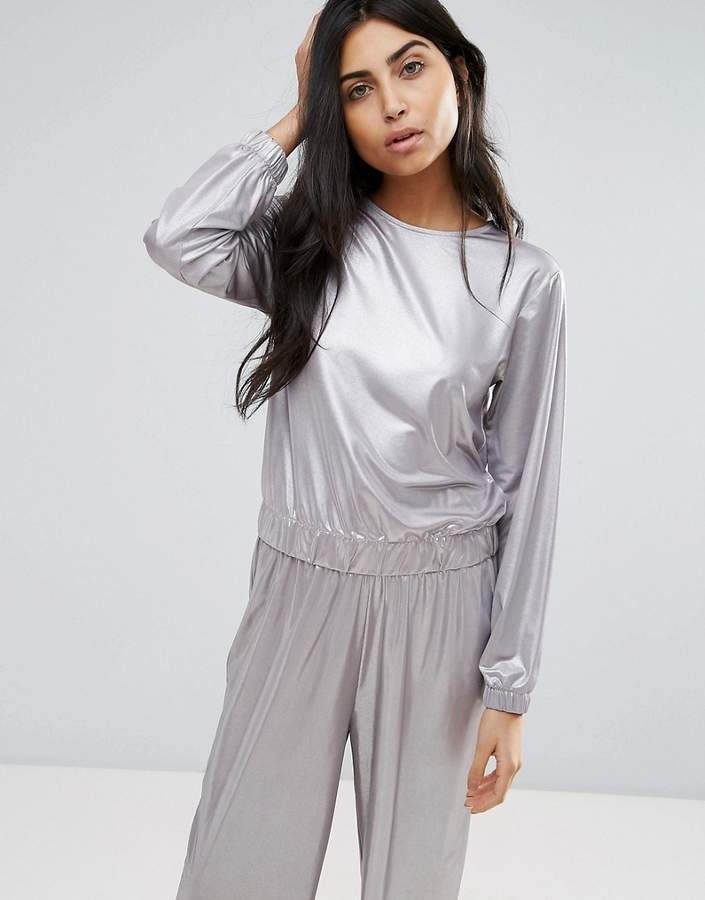 Asos Design Sweatshirt in Liquid Metallic Co-ord