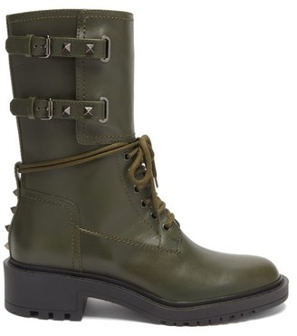 Valentino Rockstud Leather Boots - Green