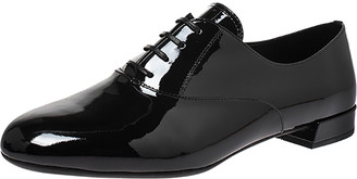 Prada Black Patent Leather Oxford Round Toe Flats Size 38.5