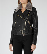 Reiss Dree Shearling And Leather Jacket