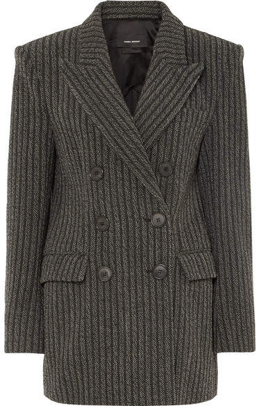 Isabel Marant Jaxen Double-breasted Striped Wool-blend Blazer - Gray