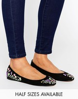 Asos LOGAN Embroidered Ballet Flats