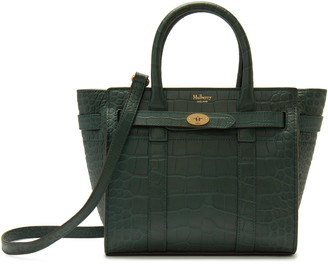 Mulberry Mini Bayswater Zipped Croc Embossed Leather Tote