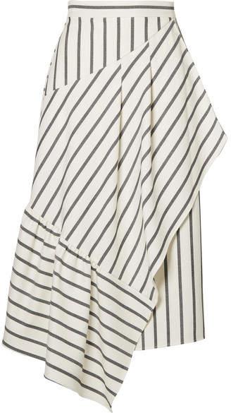 Tibi Lucci Wrap-effect Striped Twill Midi Skirt - White