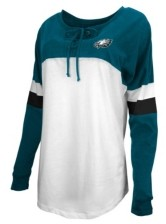 5th & Ocean Philadelphia Eagles Women's Lace Up Long Sleeve T-Shirt