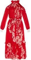 Fendi Floral-print plumetis-chiffon midi dress