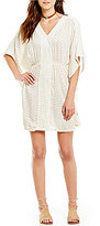 Angie Scalloped Crochet-Inset Ditsy Caftan Dress