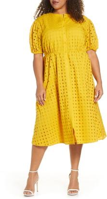 ELOQUII Puff Sleeve Eyelet Midi Dress