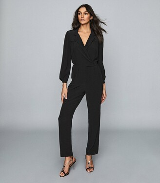 Reiss Selena - Utility Jumpsuit in Black