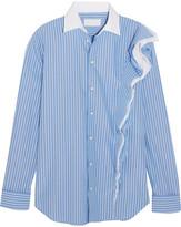 Maison Margiela Ruffled Striped Cotton-poplin Shirt - Blue