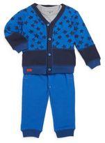 Petit Lem Baby's Three-Piece Knit Cardigan, Bodysuit & Pants Set
