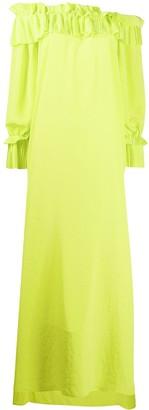 P.A.R.O.S.H. pleated trim maxi dress