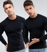 Asos 2 Pack Cotton Sweater In Black