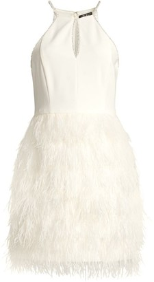 Parker Black Donna Rhinestone Feathered Dress